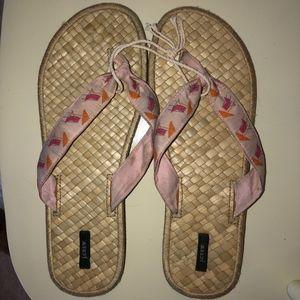 "J CREW flip flop sandal/woven footbed/11(3/4 ""heel"